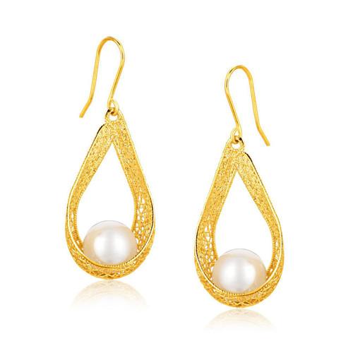 Italian Design 14K Yellow Gold Pearl Crochet Teardrop Ribbon Earrings