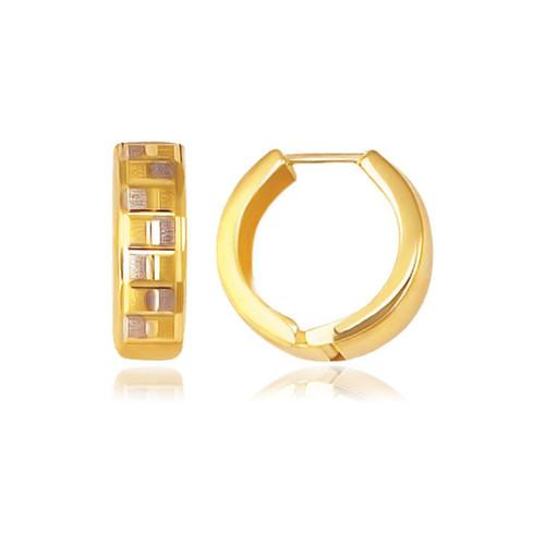 14K Yellow Gold Reversible Textured Hinged Hoop Huggie Earrings