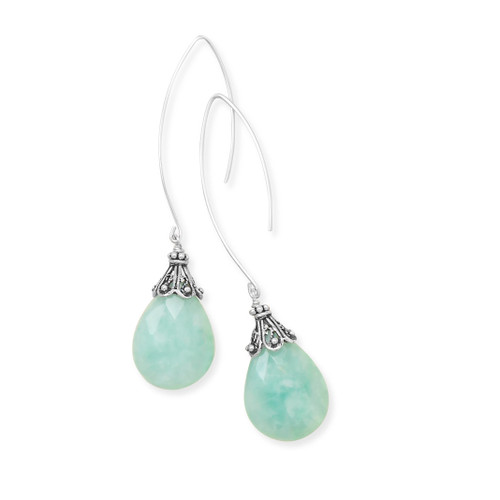 Baila Luna Blue Mint Drop Earrings Synthetic Amazonite .925 Sterling Silver