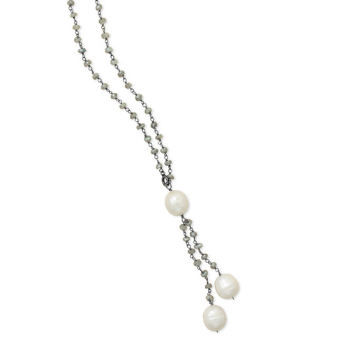 Oxidized Sterling Silver Labradorit Necklace Cultured Freshwater Pearl Drop