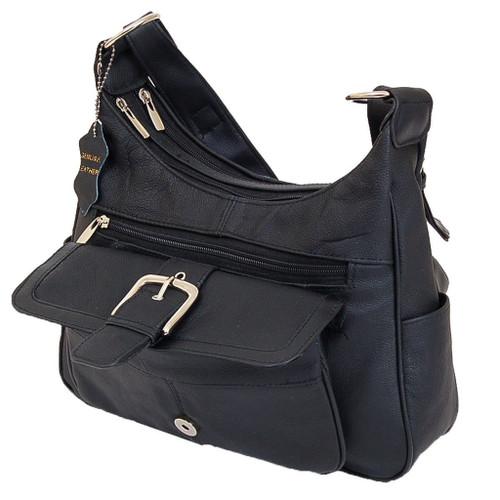 American Unique Soft Black Leather Buckle Accent Classic Handbag
