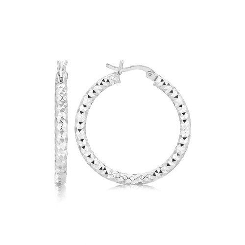 Faceted Medium Sized Hoop Earrings in Rhodium Plated Sterling Silver