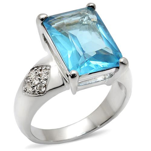 Rhodium Plated Sea Blue Synthetic Ring, Size 6