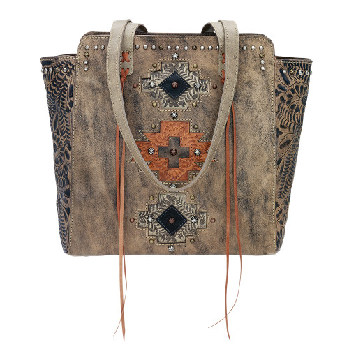 American West Navajo Soul Zip Top Tote Distressed Charcoal Brown - Sand, Harvest Tan, Chocolate Brown Accents