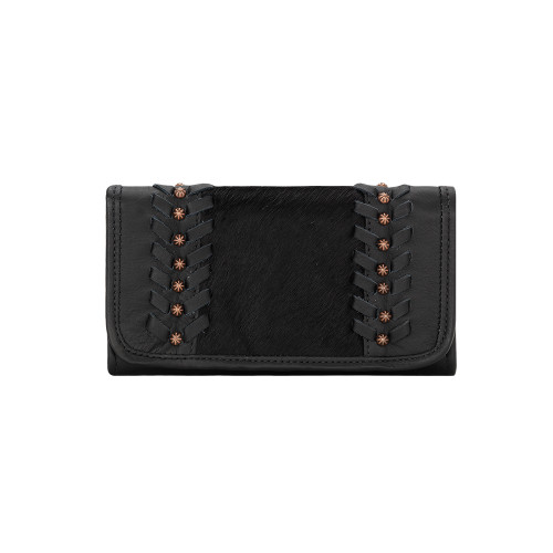 American West Cow Town Ladies' Tri-Fold Wallet Black