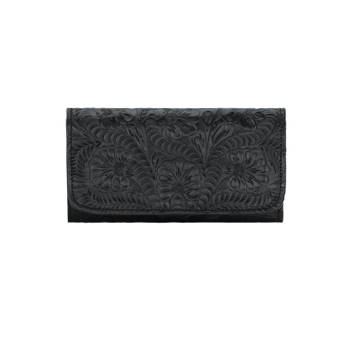 American West Black Leather Ladies' Tri-fold Checkbook Wallet