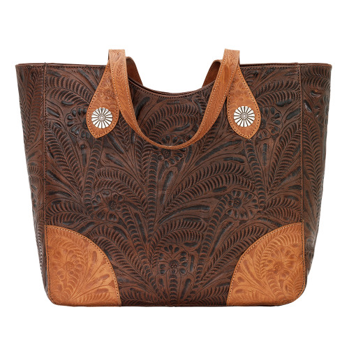 American West Annie's Secret Collection Large Zip Top Tote Secret Compartment Chestnut and Golden Tan