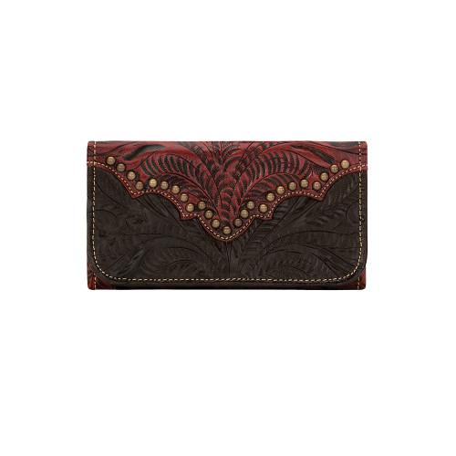 American West Annie's Secret Collection Ladies' Tri-Fold Wallet Distressed Crimson