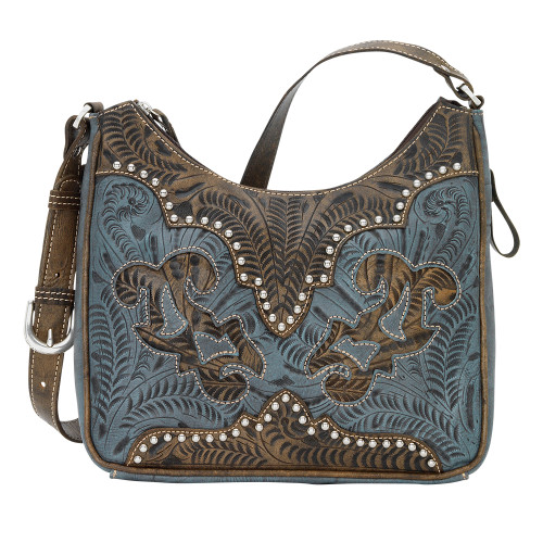 American West Annie's Secret Collection Shoulder bag Secret Compartment Distressed Charcoal and Denim Leathers