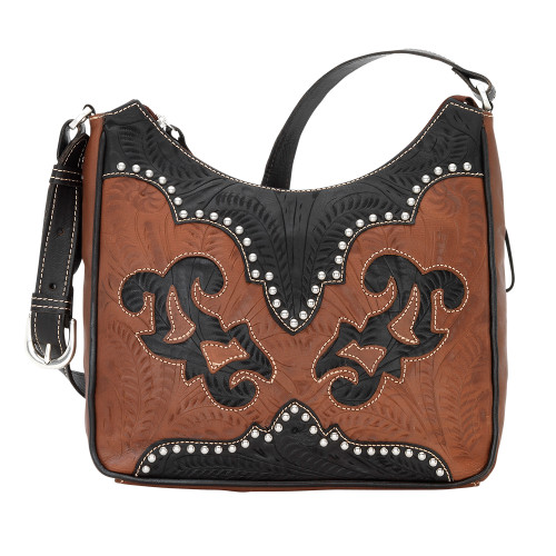 American West Annie's Secret Collection Shoulder Bag Secret Compartment Antique Brown and Chocolate
