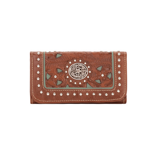 American West Lady Lace Tri-Fold Wallet Antique Brown