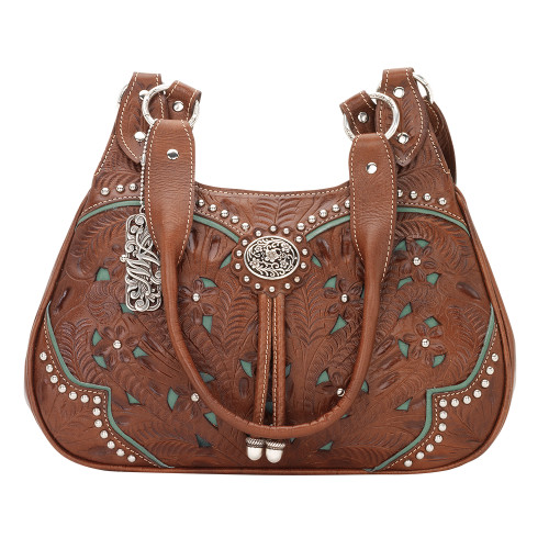 American West Lady Lace 3 Compartment Zip-Top Scoop Tote Antique Brown
