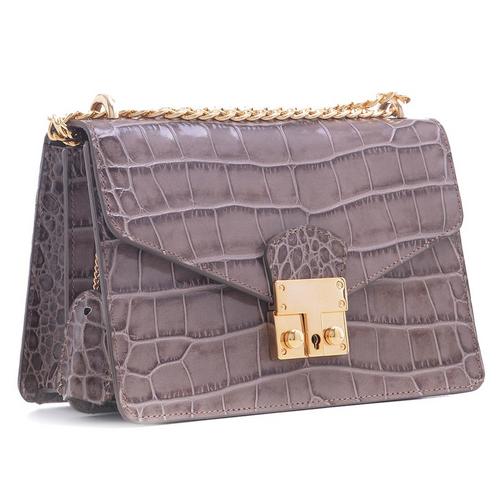 Carbotti Premium Calfskin Croc Embossed Leather Bag - Taupe