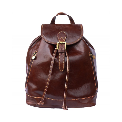 Italian Leather Collection 6560 Dark Brown Genuine Italian Leather Backpack Bag