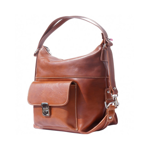 Italian Leather Collection 6563 Tan Italian 3-in-1 Leather Bag - Backpack, Shoulder Bag, Cross-Body