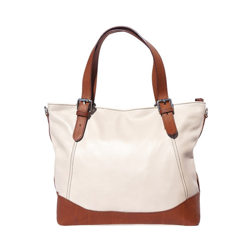 Italian Leather Collection Milena 6140 Soft Beige Italian Leather Calfskin Tote Bag Tan Leather Trim