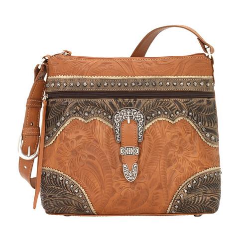 American West Saddle Ridge Zip Top Shoulder Bag Golden Tan / Distressed Charcoal Brown / Sand