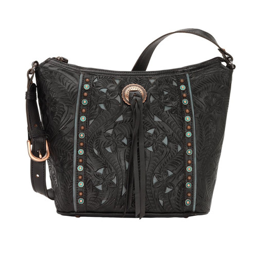 American West Hill Country Zip Top Bucket Tote Black / Turquoise
