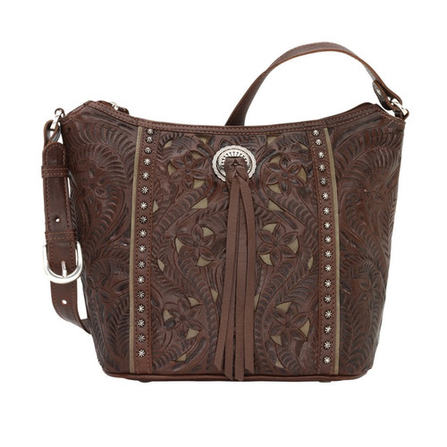 American West Hill Country Zip Top Bucket Tote Chestnut Brown / Olive