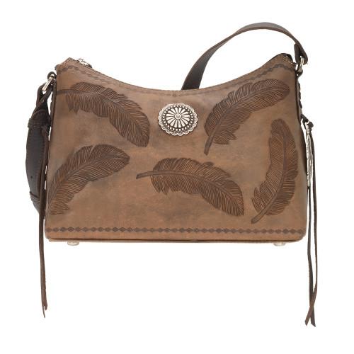 American West Sacred Bird Zip Top Shoulder Bag - Distressed Charcoal Brown