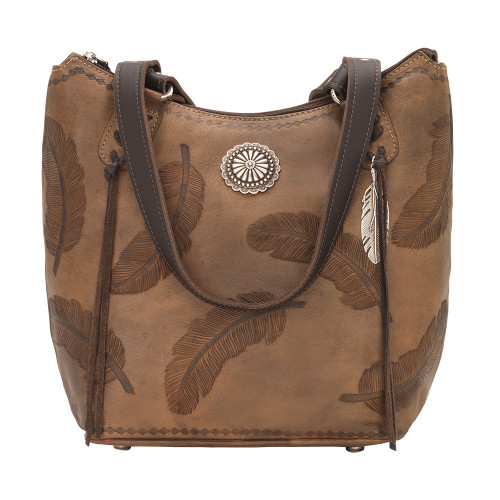 American West Sacred Bird Zip Top Bucket Tote - Distressed Charcoal Brown