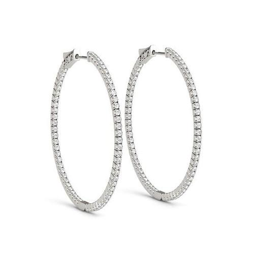 14K White Gold Slim Two Sided Diamond Hoop Earrings (1 1/2 ct. tw.)