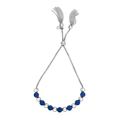 Adjustable Bead Bracelet with Blue Agate in Sterling Silver