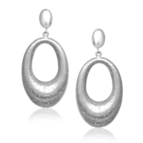 Sterling Silver Diamond Dust Graduated Open Oval Dangling Earrings