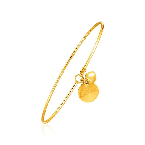 """14K Yellow Gold Bangle with Engraved """"Love"""" and Puffed Heart Charms"""