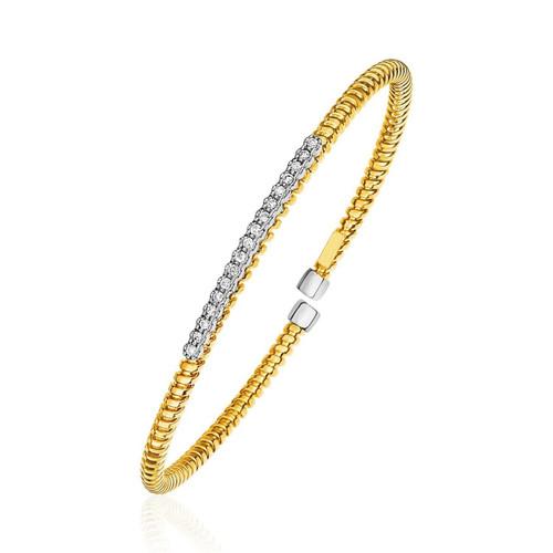 14K Yellow Gold and Diamond 3mm Flexible Bangle Bracelet