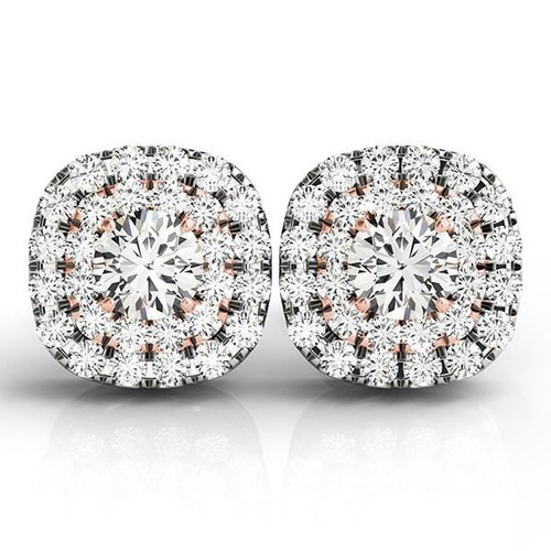 14K White and Rose Gold Cushion Shape Halo Diamond Earrings (3/4 ct. tw.)