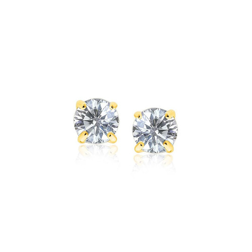 14K Yellow Gold Stud Earrings with White Hue Faceted Cubic Zirconia - 46329