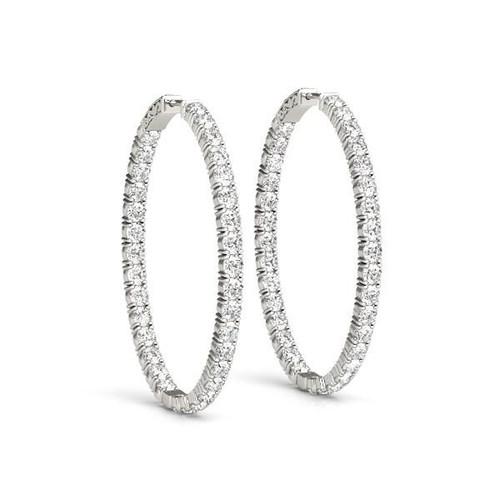 Oval Shape Two Sided Diamond Hoop Earrings in 14K White Gold (2 ct. tw.)