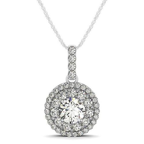 14K White Gold Diamond Halo Round Shape Pendant (1 1/4 ct. tw.)