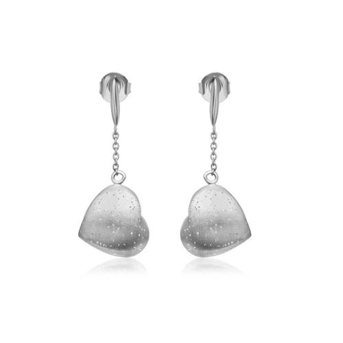 Sterling Silver Heart Diamond Dangling Earrings