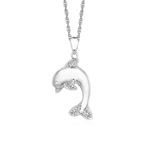 Dolphin Pendant with Diamonds in Sterling Silver