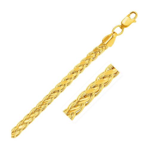 5.2mm 14K Yellow Gold Diamond Cut Round Franco Bracelet