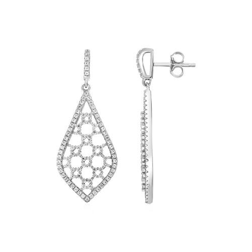 Open Mosaic Motif Earrings with Cubic Zirconia in Sterling Silver