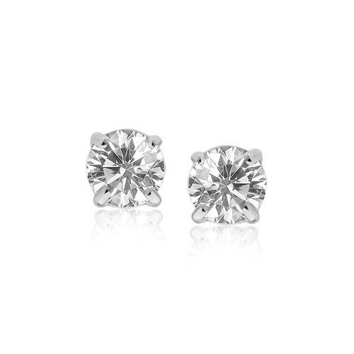 14K White Gold Stud Earrings with White Hue Faceted Cubic Zirconia - 53852
