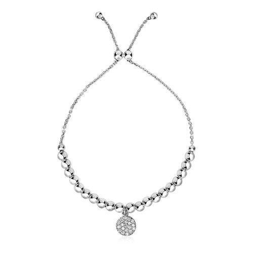 Adjustable Bead Bracelet with Round Charm and Cubic Zirconias in Sterling Silver