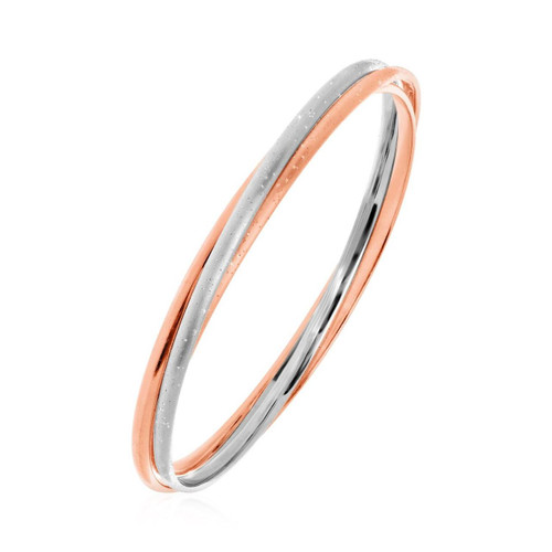 Textured Interlocking White and Rose Finish Bangle in Sterling Silver