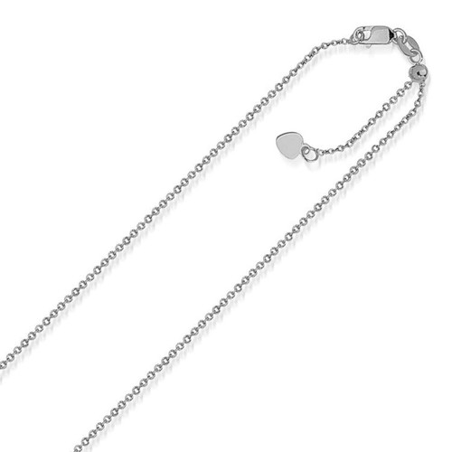 14K White Gold Singapore Style Adjustable Chain (1.1 mm)