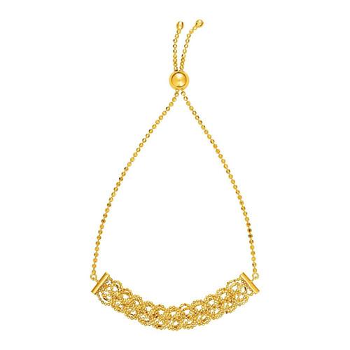 Textured Open Link Chain Motif Adjustable Bracelet in 14K Yellow Gold
