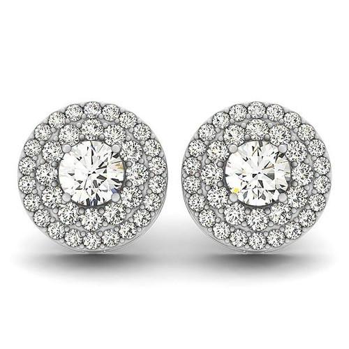 14K White Gold Double Halo Round Diamond Earrings (1 1/4 ct. tw.)
