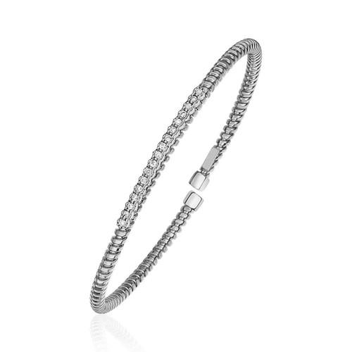 14K White Gold and Diamond 3mm Flexible Bangle Bracelet