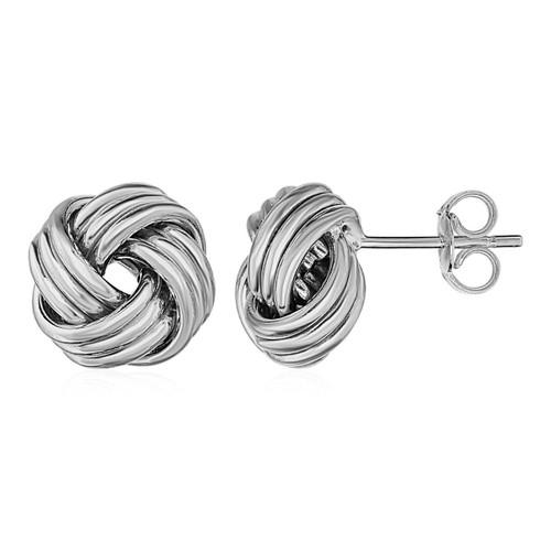 Love Knot Post Earrings in 14K White Gold - 45300