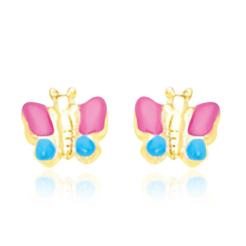 14K Yellow Gold Earrings with a Butterfly Design