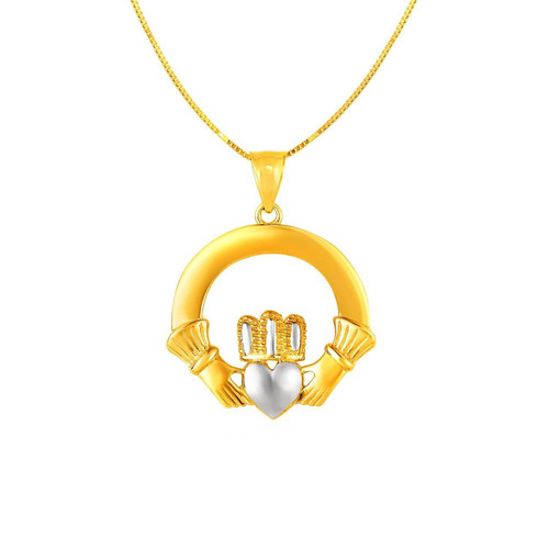 Claddagh Pendant in 14K Two Tone Gold