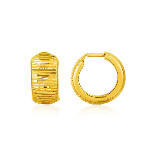Reversible Textured and Smooth Snuggable Earrings in 10K Yellow Gold