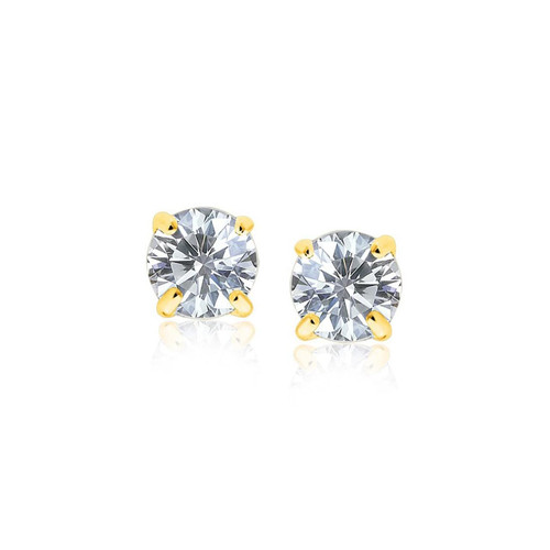 14K Yellow Gold Stud Earrings with White Hue Faceted Cubic Zirconia - 27246